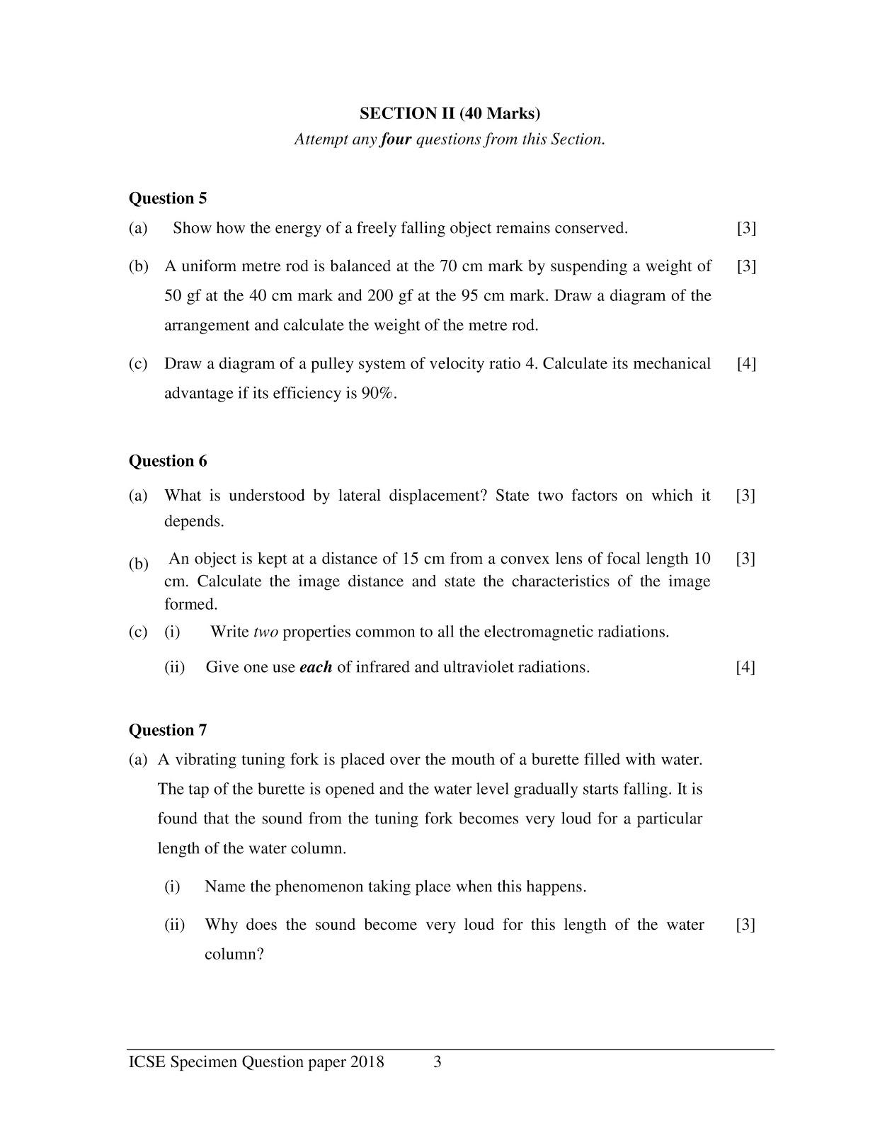 icse 2018 class 10th science physics paper 1 Specimen paper