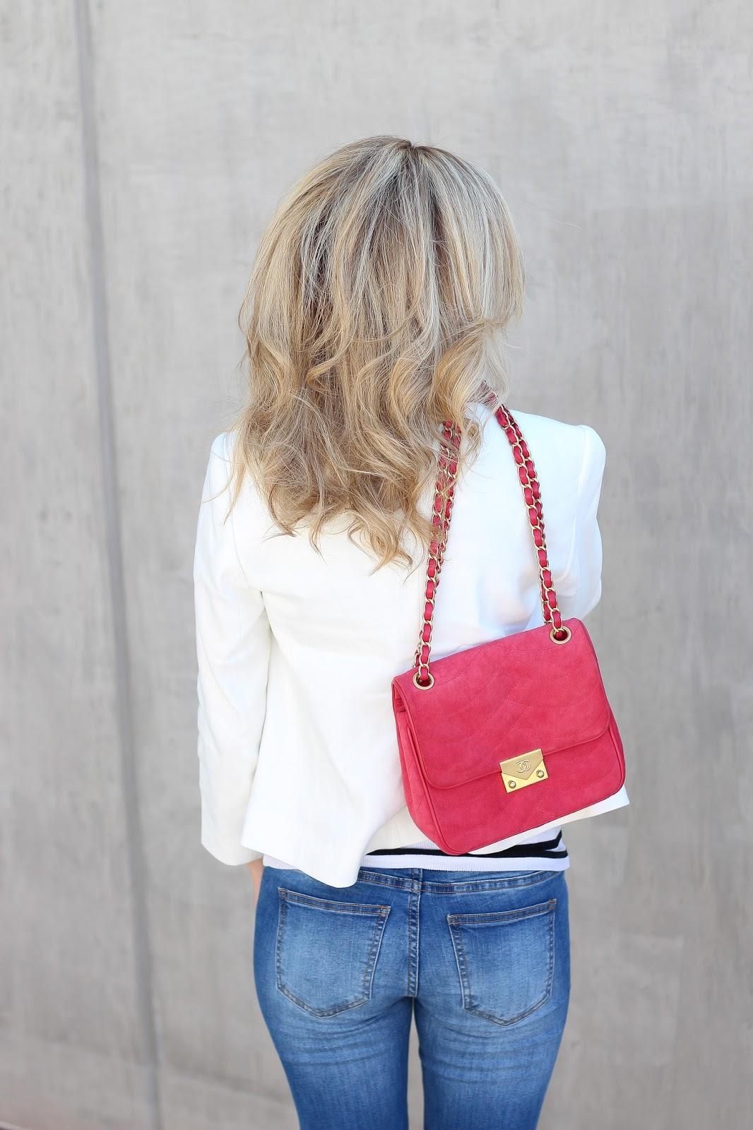 white blazer - pink chanel - denim