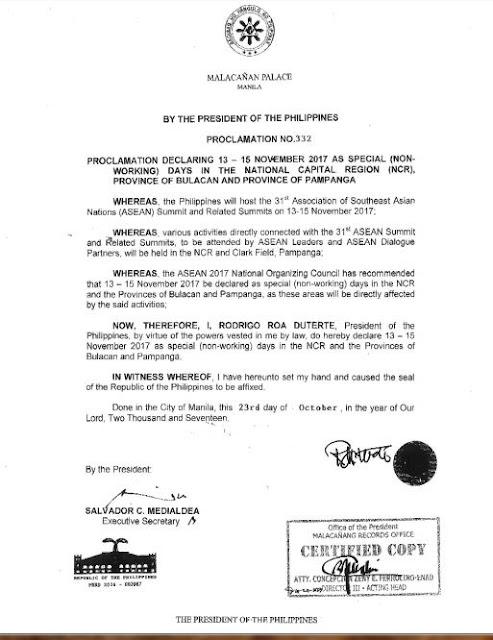 ASEAN SUMMIT holidays in November 2017 Metro Manila Philippines