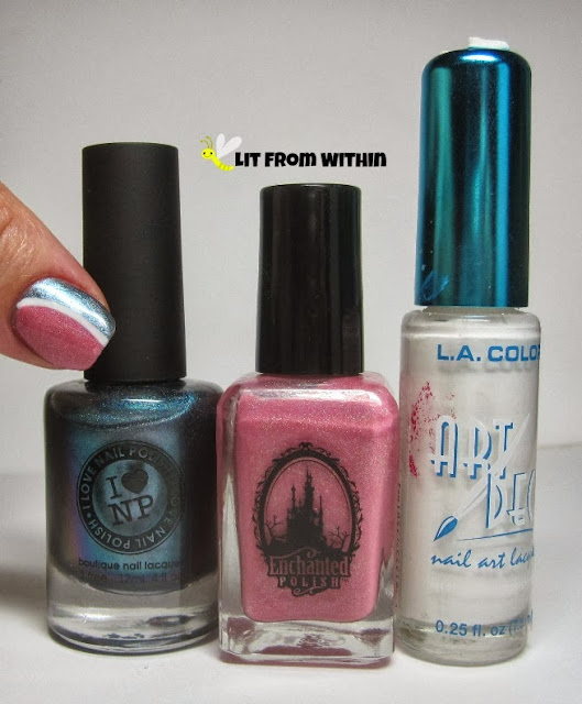 bottle shot:  I Love Nail Polish My Little Glacier, Enchanted Polish Horizontal Running, and a white striper.