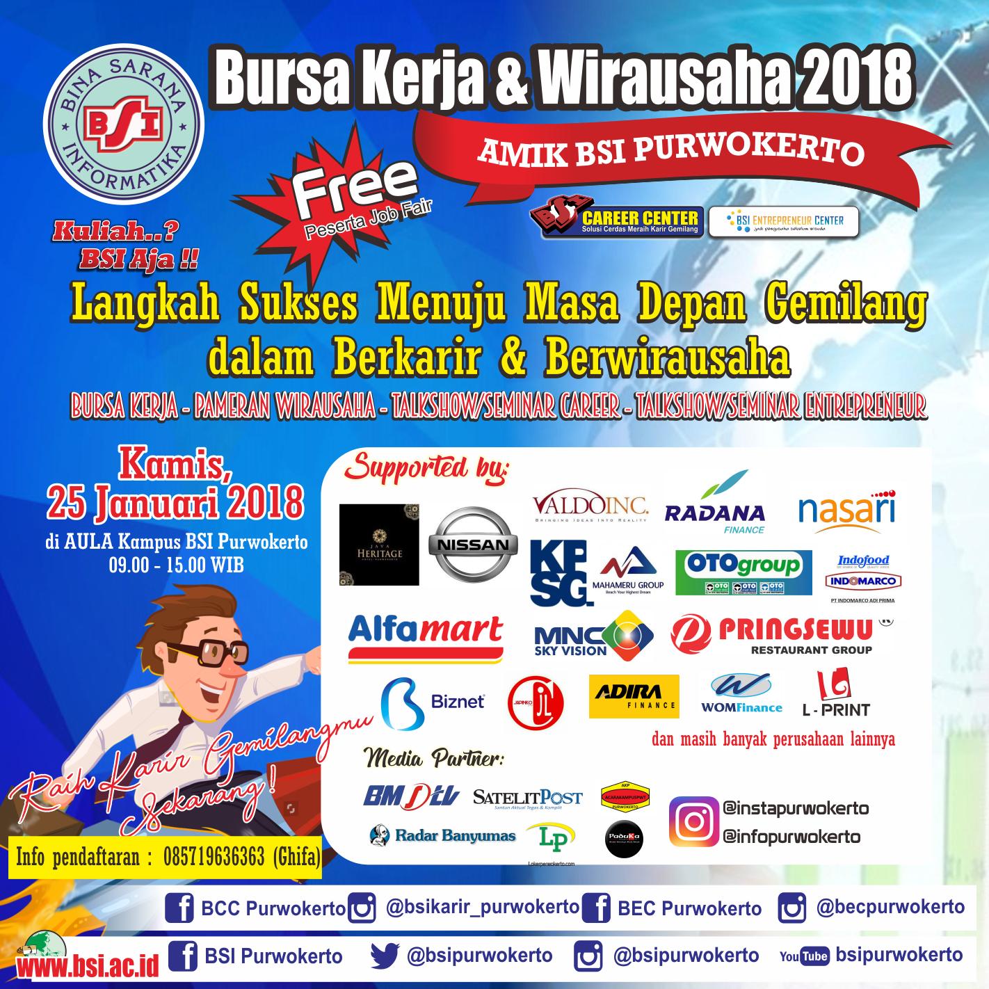 Bursa Kerja dan Pameran Kewirausahaan BSI Purwokerto 2018 ...