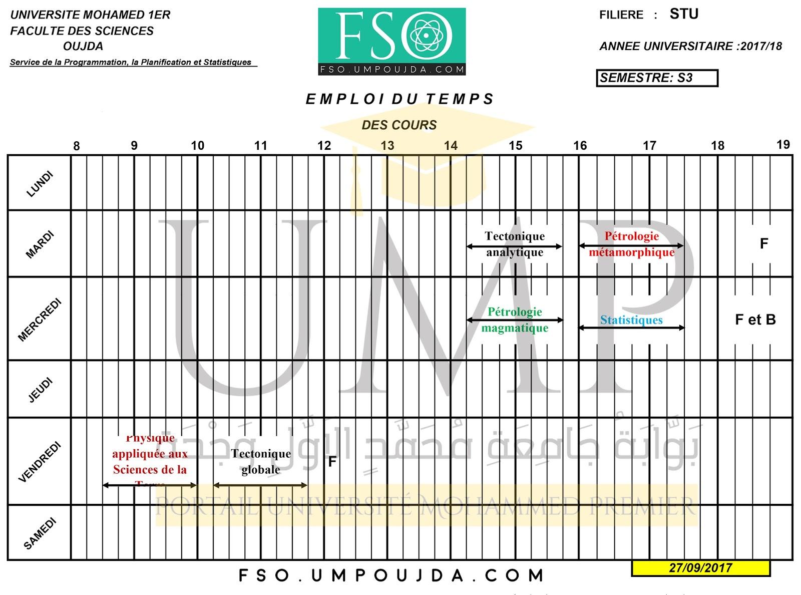 STU S3 : Emploi du temps Session Automne 2017/2018