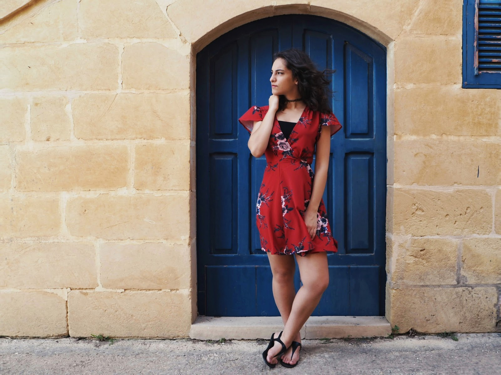zaful dress, red floral dress, wrap dress