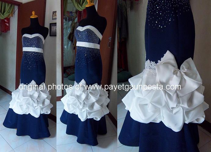 Baju+Pesta+Mermaid+Biru+Cubitan+Pita+Putih