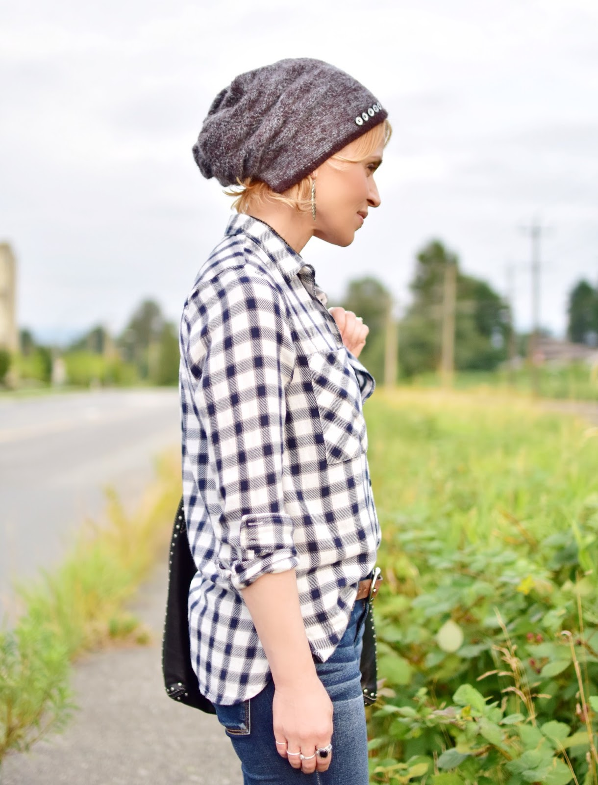 plaid flannel shirt, mohair beanie