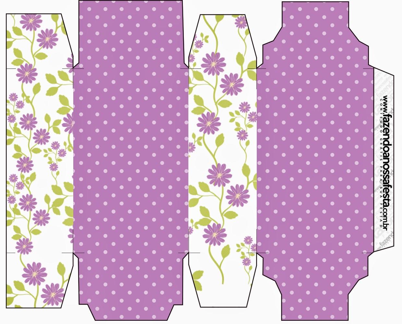Caja para Imprimir Gratis de Flores Moradas.