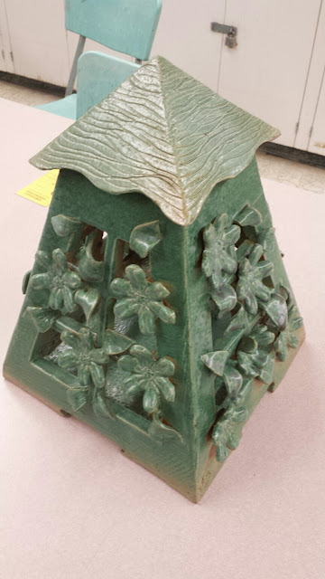 Beautiful green floral (clematis vines) pottery stoneware garden lantern by Lily L.
