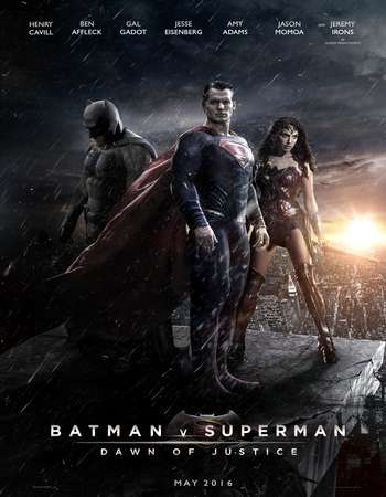 Poster Of Batman v Superman Dawn of Justice 2016 English 700MB Cam Free Download Watch Online