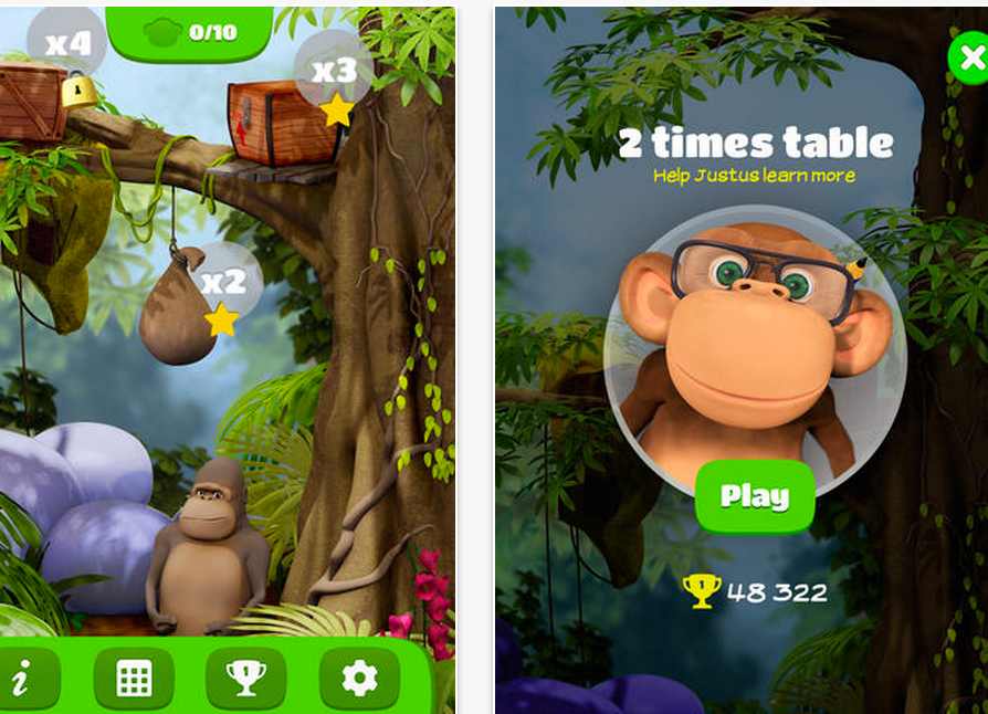 10 monkeys multiplication math fact game