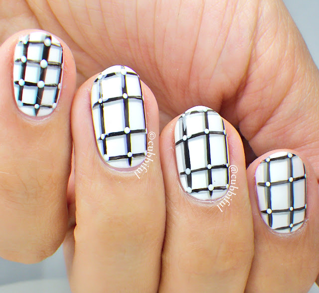 Black and White Grid Nails
