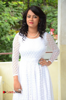 Actress Athidhi D Pictures in White Long Dress at Attarillu Audio Launch  0071