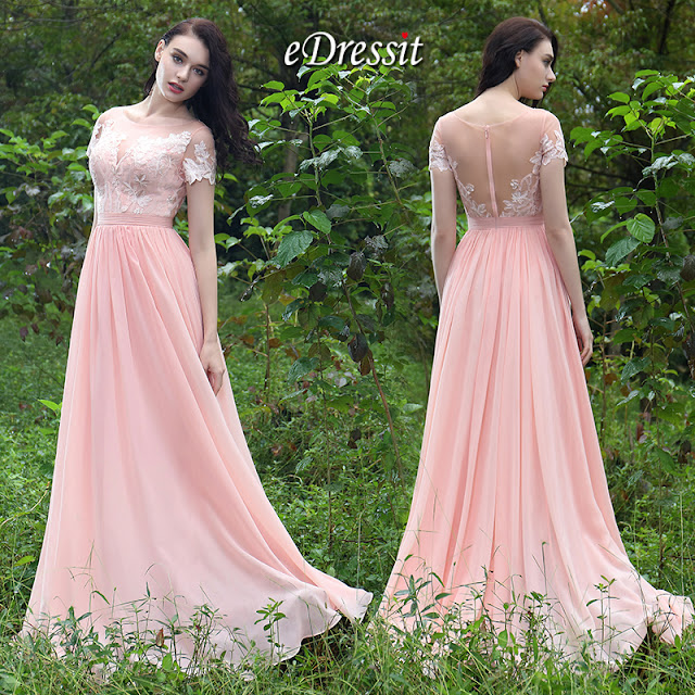 eDressit Pink Elegant Lace Prom Evening Dress