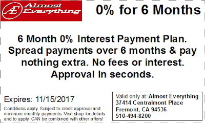 Coupon 6 Month Interest Free Payment Plan October 2017