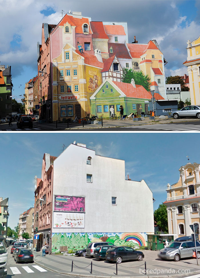 10+ Incredible Before & After Street Art Transformations That'll Make You Say Wow - 3D Mural In Poznan, Poland