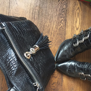 VVA black croc bag and Office boots