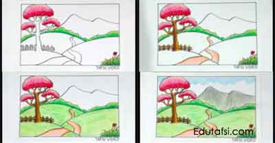 Cara mewarnai pemandangan padang rumput dengan oil pastels