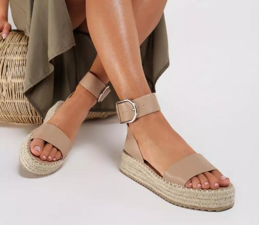 Sandale moderne cu talpa groasa de femei kaki ieftine de vara
