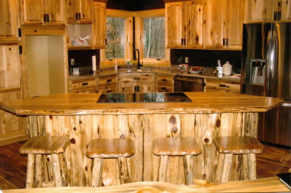 cedar kitchen cabinets with icebox