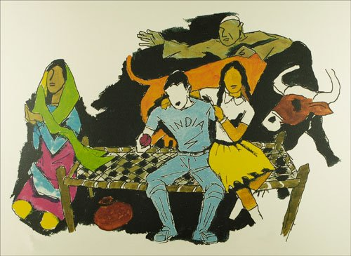 M. F. HUSAIN, (1915/2013), INDIAN PAINTER: Unity into the