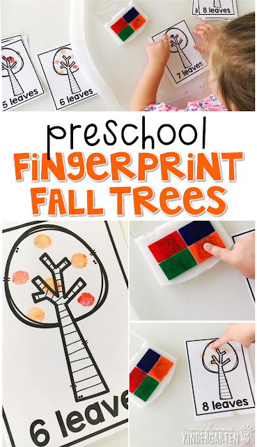These fingerprint trees are a great way to practice number identification, counting, and fine motor skills with a fall theme. Great for tot school, preschool, or even kindergarten!