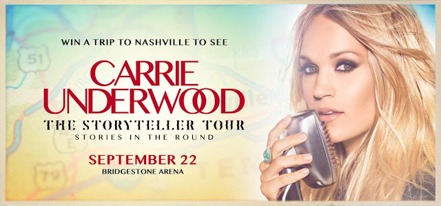The Grand Ole Opry wants you to enter once for a shot at winning a trip to Nashville see Carrie Underwood's Storyteller Tour concert AND enjoy a meet and greet with Carrie, too!