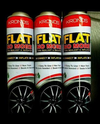 Tayar Pancit dah Tak Perlu risau, Tayar Pancit dah Tak Perlu risau Kronos FlatNoMore Tyre Sealant & Inflator, Penyelamat Tayar Pancit, menyelamatkan tayar dari pecah dan Rim patah
