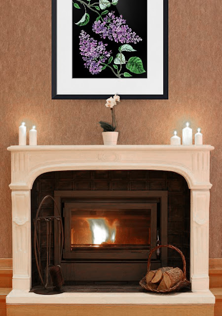 Lilac Botanical Watercolor Flower painting in interior decor