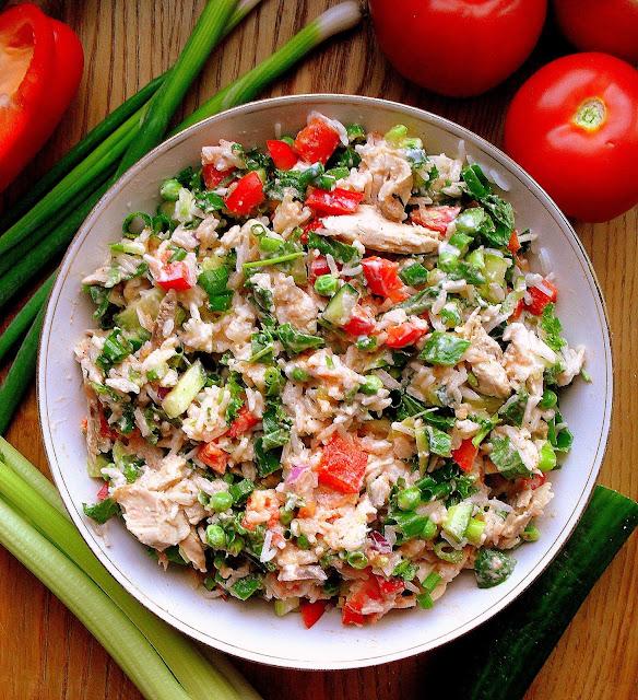 Ryżowa sałatka z kurczakiem i groszkiem / Rice Chicken Salad with Peas