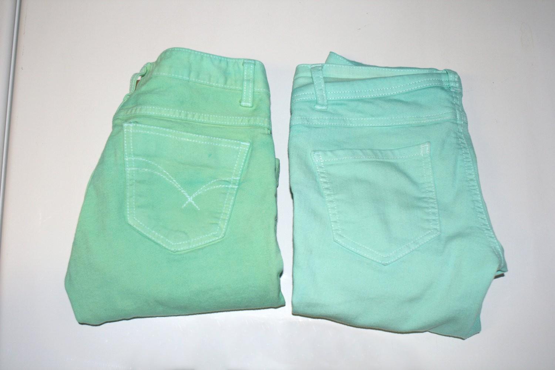DIY Perfect Mint Color Jeans