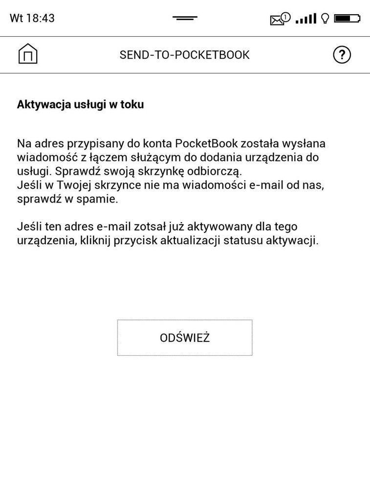 PocketBook Touch HD 3 – kounikat po zalogowaniu do usługi Send-to-PocketBook