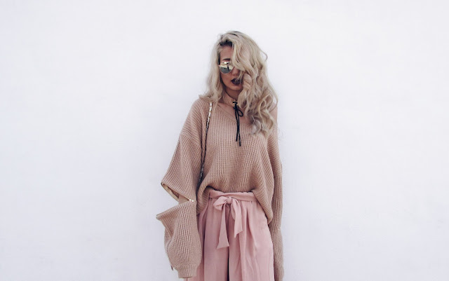 pastel pink sweater outfit