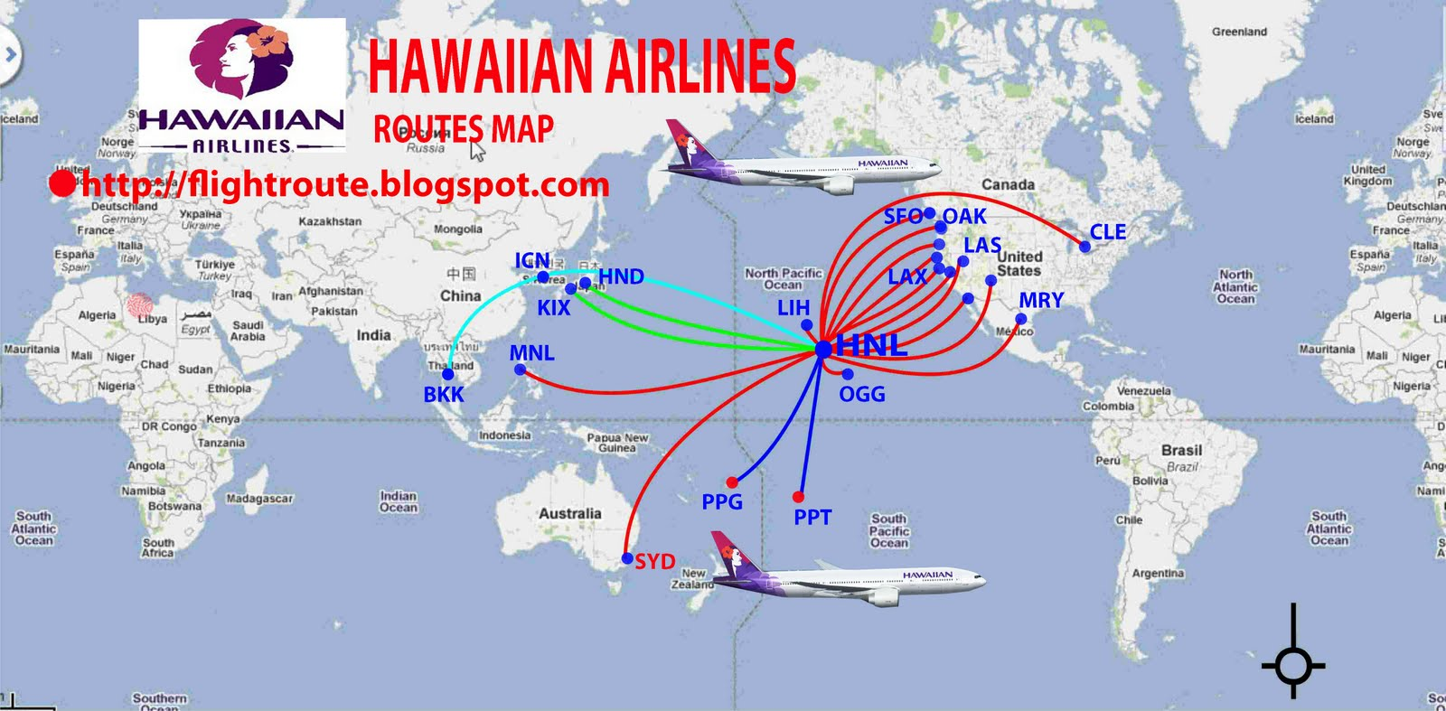 Hawaiian Airlines routes map | Design Plane