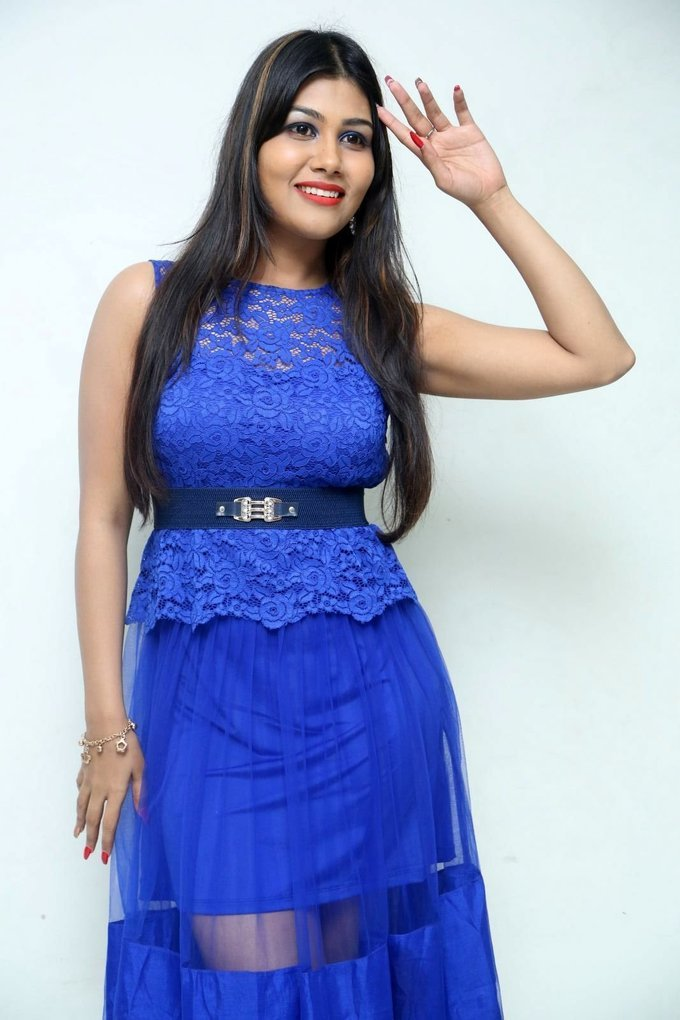 Rachana Smith In Blue Hot Dress During Idem Deyyam Press Meet