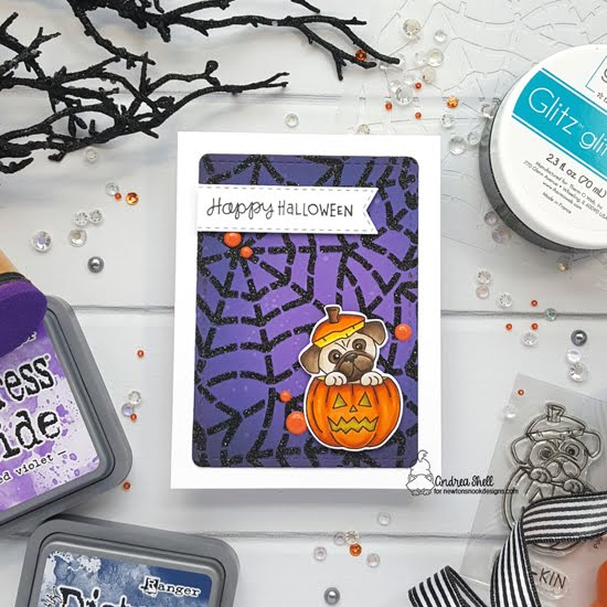 Pug Halloween Card by Andrea Shell | Pug-kin Stamp Set, Banner Trio Die Set, Frames & Flags Die Set and Spiderweb Stencil by Newton's Nook Designs #newtonsnook #handmade