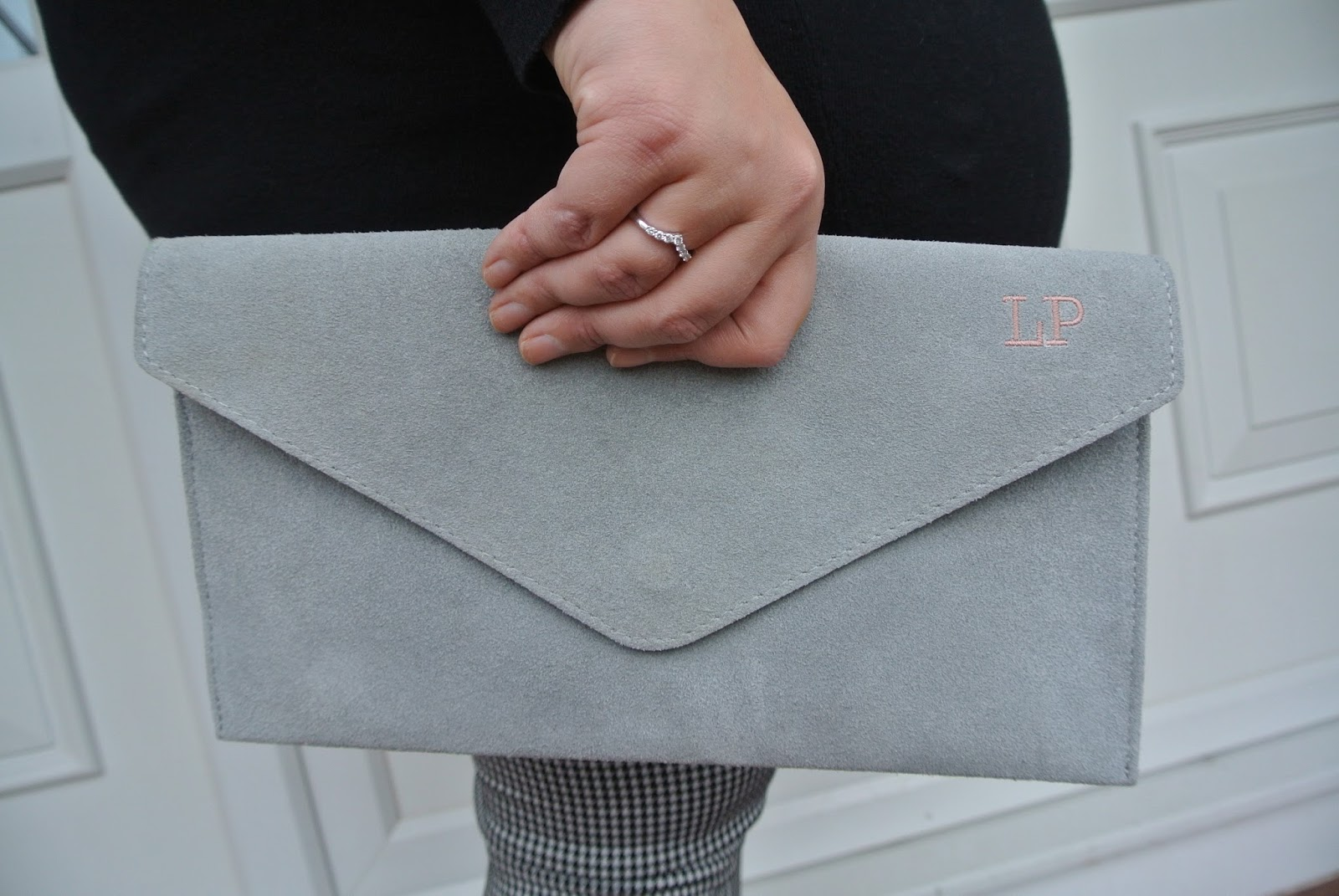BB Bags Boho Boutique Personalised Suede Bag Grey and Rose Gold