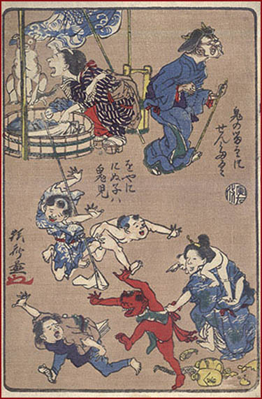 Gokuraku jigoku kawanabe kyosai hell paintings scenes from japanese folklore and proverbs dealing with household chores games and demons yokai and oni from the series kyosai hyaku zu one fandeluxe Image collections