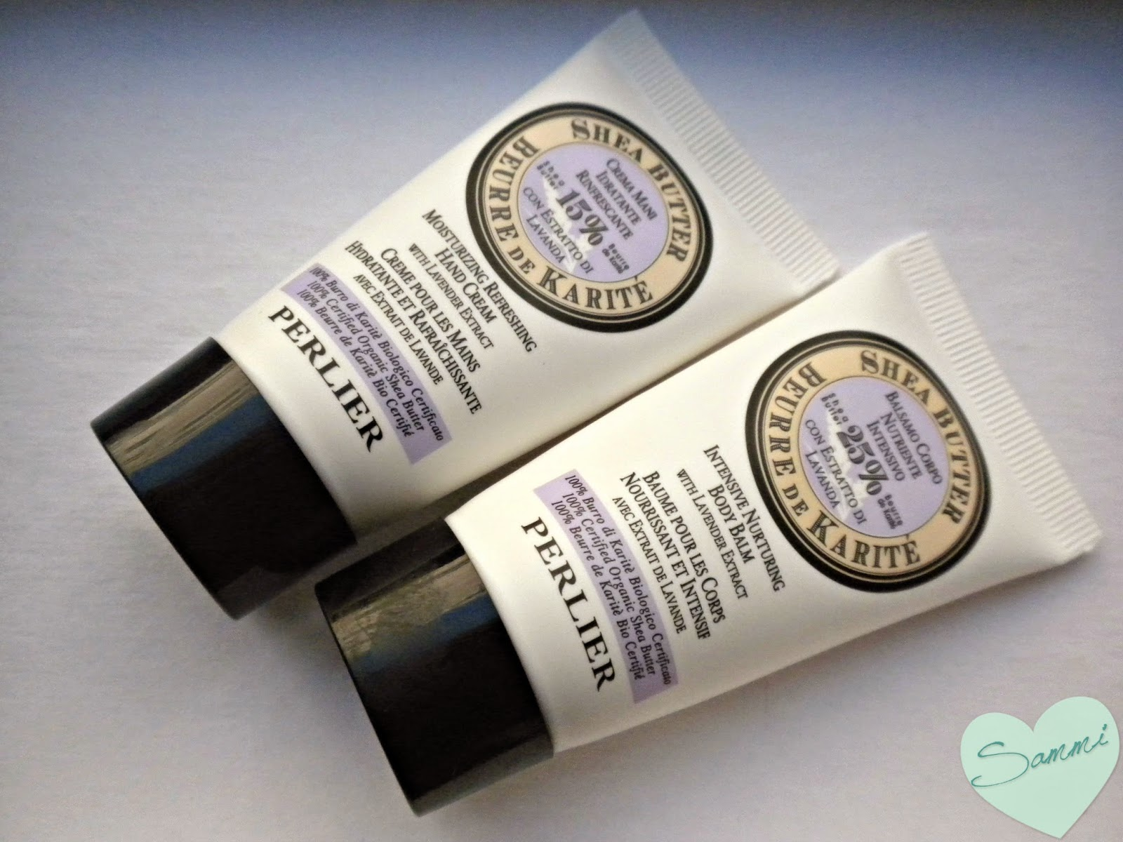PERLIER Shea Butter Lavender Hand Cream ($21 for 3.3oz) and Body Balm ($30 for 6.7oz)