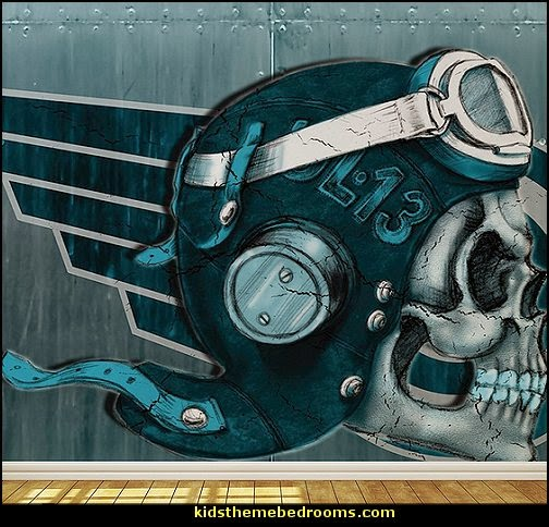 Skull Aviator Wallpaper Mural