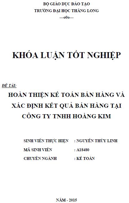 Hoàn thiện kế toán bán hàng và xác định kết quả bán hàng tại Công ty TNHH Hoàng Kim