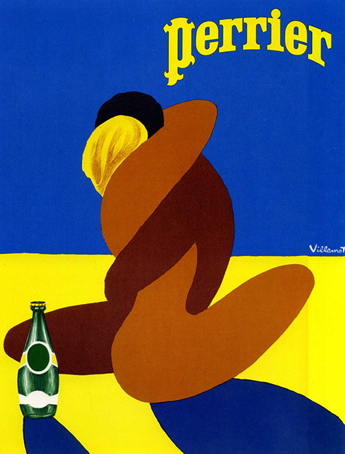 Perrier Kiss by Bernard Villemot - Vintage Poster French, advertising, classic posters, food, free download, free posters, free printable, french poster, graphic design, printables, retro prints, vintage, vintage posters, vintage printables
