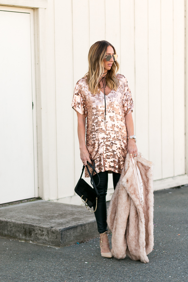 new years outfit idea with sequins
