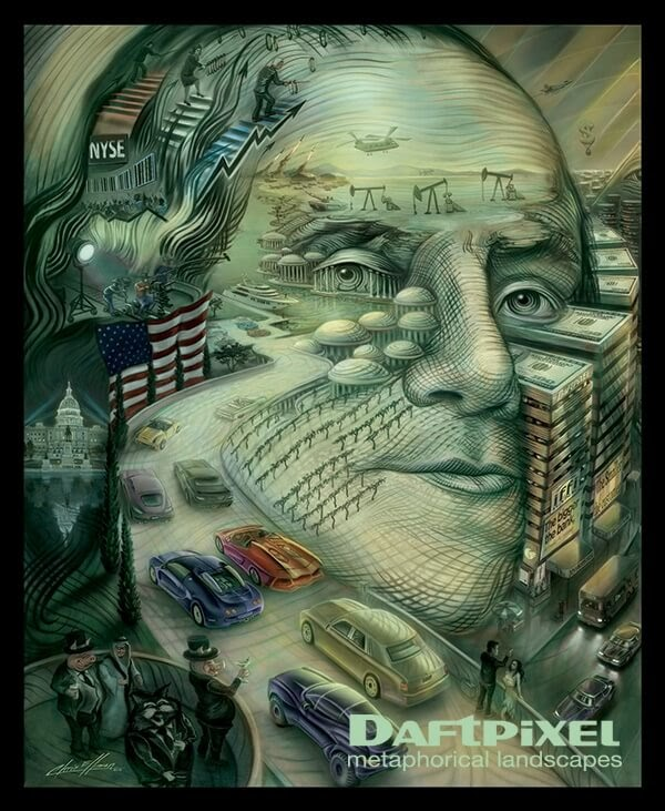 07-Benjamin-Franklin-Chris-Elliman-Surreal-Paintings-full-of-Meaning-and-Symbols-www-designstack-co