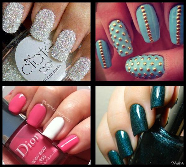 nail art de caviar; nail art de bolinhas; nail art azul e dourada; nail art branca e rosa; nail art verde