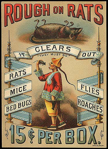 "Image description: ""Rough On Rats"" product box lid is a colorful celluloid picture of a Chinese gentleman with  a long pigtail, a cooly hat, and an embroidered tunic who is about to eat a rat while in his other hand he holds a second rat, apparently also about to be consumed."