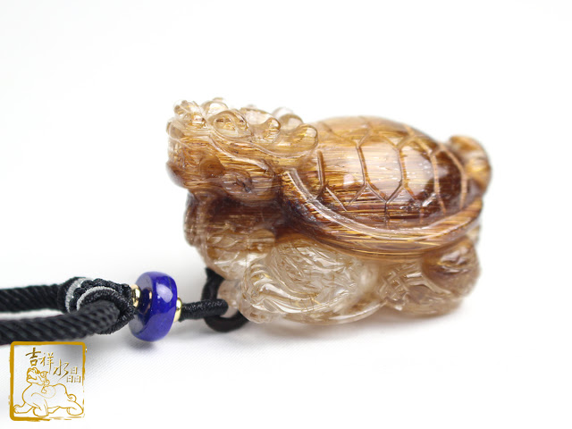 Quartz Rutilated Dragon Turtle pendant