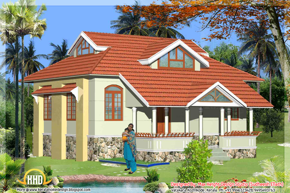 5 kerala style house 3d models kerala home design and for Small house design kerala style