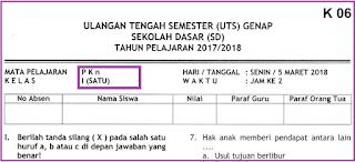 Soal UTS 2 PKn Kelas 1 SD Terbaru Plus Kunci Jawaban