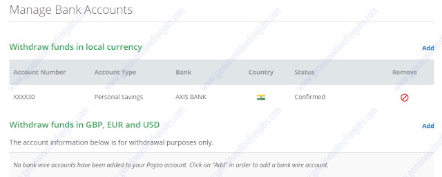 Bank account added on Payza