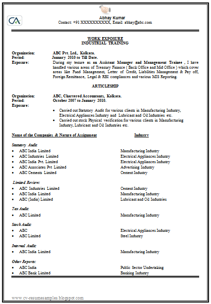 sample resume of a student