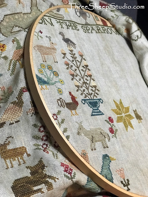 'His eye is on the Sparrow' cross stitch - design by Beth Twist of Heartstring Samplery, stitched by Rose Clay